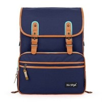 [HotStyle Basic Classic] SmileDay Vintage Laptop Backpack for College School, Sapphire