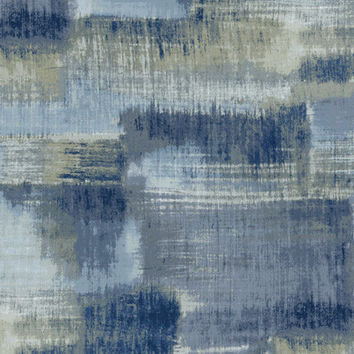 Abstract Blocks Wallpaper in Blues, Greys, and Metallic design by Seabrook Wallcoverings