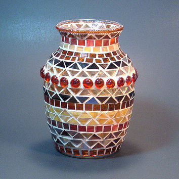 Stained glass mosaic vase fall colors by threesisterscandles