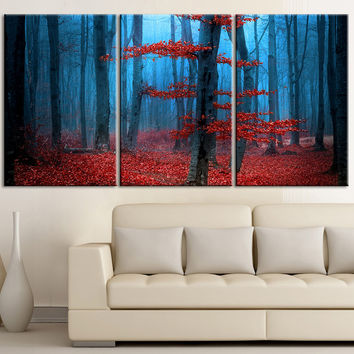 Large Wall Art Blue Forest and Red Leaves Autumn Canvas Print - Contemporary 3 Panel Triptych Red Leaves in Forest Canvas Art Large Wall Art - MC37