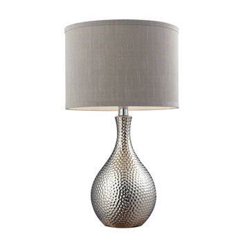 D124 Hammered Chrome Plated Table Lamp With Grey Faux Silk Shade
