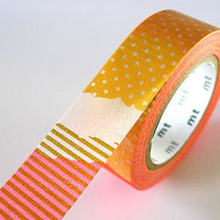 Bright Orange PATCH Collage Washi Tape 15mm Japanese by PrettyTape