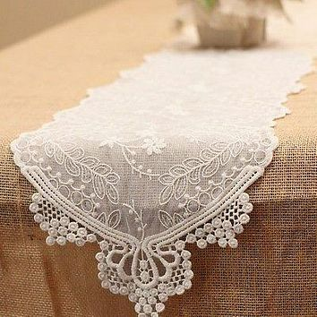 Floral Lace Table Runner, 12-Inch, 6-Feet