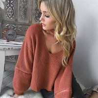 Knit Tops Winter V-neck Pullover Zippers Lights Sweater [22397354010]