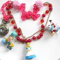 Kawaii Harajuku Mad Tea Party Necklace. Alice in Wonderland White Rabbit Mad Hatter. Glass beads pearls beaded Pocket Watch chain necklace