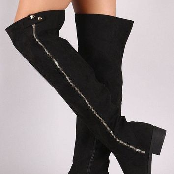 DCK7YE Bamboo Suede Zipper Trim Over-The-Knee Riding Boots