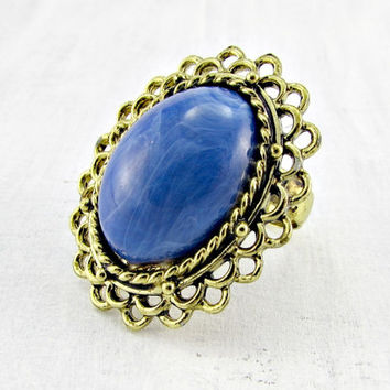 Vintage Blue Cocktail Ring, Marbled Blue Lucite Cabochon Ring, Gold Filigree Flower Ring, Adjustable Statement Ring, 1960s Vintage Jewelry