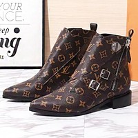 Louis Vuitton LV New Fashion Monogram Print Leather High Quality Shoes Boots Women