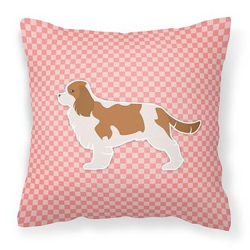 Cavalier King Charles Spaniel Checkerboard Pink Fabric Decorative Pillow BB3649PW1818