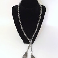 Vintage Silver Metal Rope Chain Link Lariat Necklace Tassels Oval Tear Drop Bell Filigree Ball Pendant Boho Steampunk