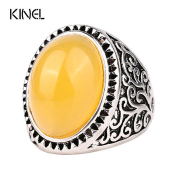 Yellow Lmitation Turquoise Antique Engagement Rings For Women Plating Silver Party Love Ring Vintage Jewelry