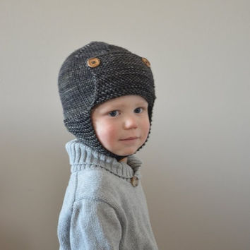 KNITTING PATTERN PDF File - Toddler Knit Hat Pattern - Toddler Knitting Patterns - Baby Aviator Hat Knitting Pattern - Childrens Hat Pattern