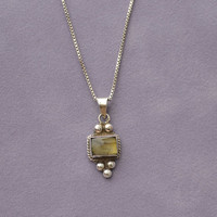 """Tiger Eye Pendant Semiprecious Stone Rectangle Sterling Silver Chain 24"""" Mexican 24"""""""