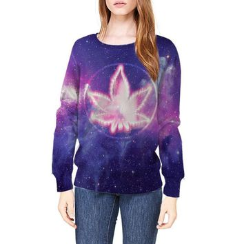 3D Hoodie Galaxy Space Sweatshirt Fashion Weed Leaf Trippy