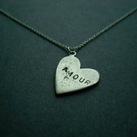 Silver Heart Amour pendant necklace