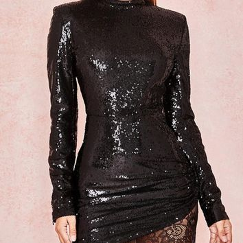 New Black Patchwork Sequin Lace Draped Round Neck Long Sleeve Elegant Mini Dress
