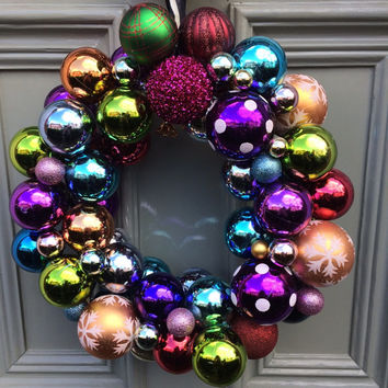 Multi colour Bauble Christmas Wreath