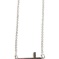 Sideways Cross Necklace - Silver