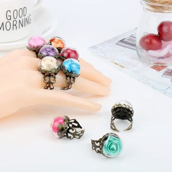 Women Vintage Accessories Beauty and Beast Film Jewelry Finger Ring Glasses Dry Rose Flower Opening Rings (can be adjusted)