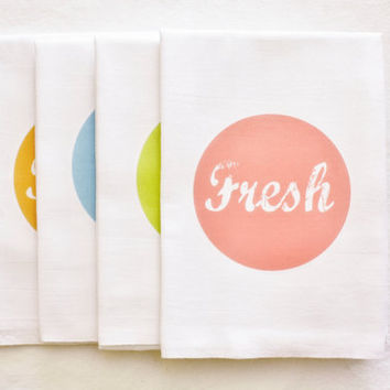 Fresh Kitchen Tea Towel, Flour Sack Towel, Cotton Towel, Home Decor, Gift, Words, Text