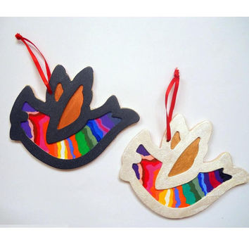 Hand Painted Rainbow Black Dove Ornament