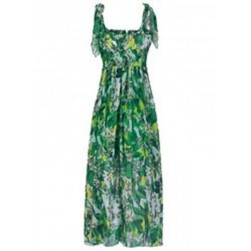 Bohemian Square Neck Sleeveless Floral Print Elastic Waist Women's Dress