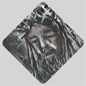 Jesus Crown of Thorns Blood Abstract Christian Car Window Sign