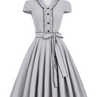 Belle Poque Women Summer Dress 2017 Amber Grey V-Neck Swing Elegant Tunic Robe Vintage Dresses 50s 60s Plus Size Clothing