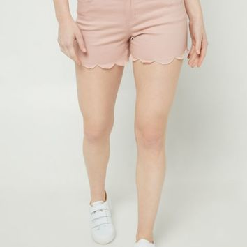 Pink Scalloped Hem Shorts