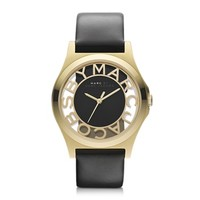 Marc by Marc Jacobs Designer Women's Watches Henry Skeleton 40mm Stainless Steel Watch w/Leather Strap