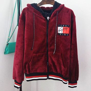 ONETOW Tommy jeans new loose hooded velvet sweater women's hooded jacket