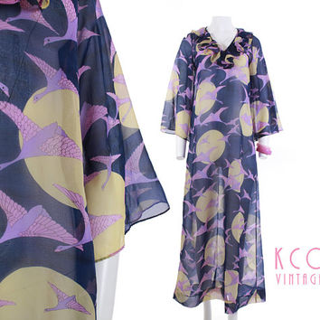 Vintage Chiffon Dress 60's Elisabeth Stewart Flying Cranes Full Moon Novelty Print Caftan / Bell Sleeve Purple Blue Retro Mod Women Size M-L