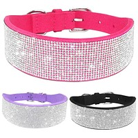 Bling Full Rhinestone Crystal  Pet Diamante Dog Collars Black Pink Purple Soft Seude Leather For Medium Large Dogs S M L