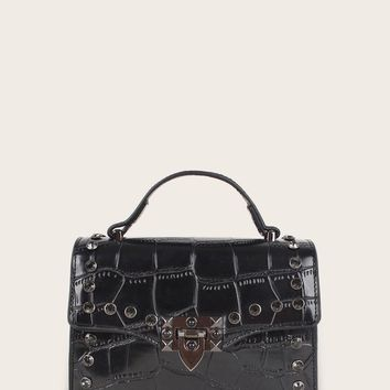 Studded Decor Croc Embossed Satchel Bag