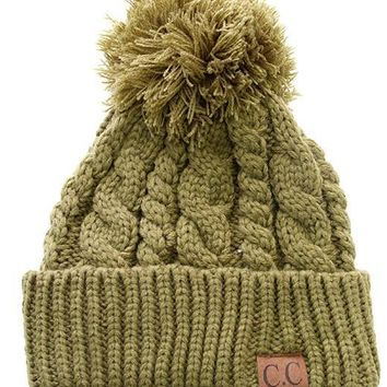 Olive Cable Knit Pom Pom Hat