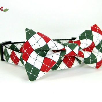 Christmas Dog Collar -Argyle Green and Red Dog Collar with bow tie set  (Mini,X-Small,Small,Medium ,Large or X-Large Size)- Adjustable