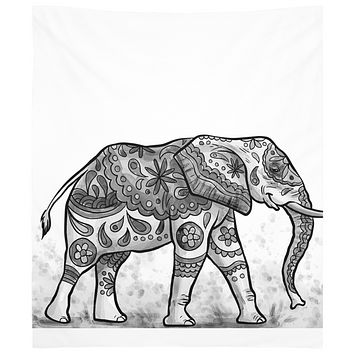 Lucky White Elephant Black and White Tapestry Wall Hanging Indian