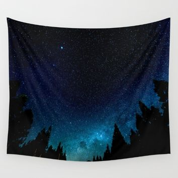Black Trees Turquoise Milky Way Stars Wall Tapestry by 2sweet4words Designs