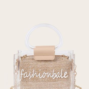 Slogan Print Clear Bag With Woven Clutch