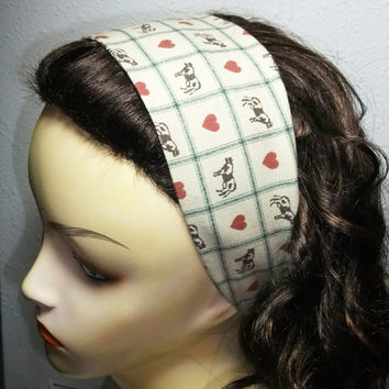 Wide Fabric Headband Reversible Wrap Around Cows Hearts Green Checkers