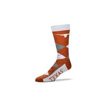 NCAA Texas Longhorns Argyle Unisex Crew Cut Socks - One Size Fits Most
