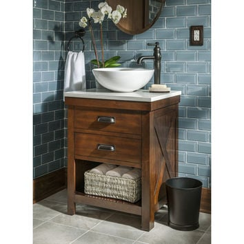 Shop Style Selections Cromlee Bark Vessel Single Sink Poplar Bathroom Vanity with Engineered Stone Top (Faucet Included) (Common: 24-in x 19-in; Actual: 24-in x 19-in) at Lowes.com