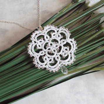 Bridal Lace Pendant in Tatting - Rosetta