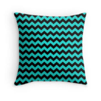 Turquoise and Black Chevron Zigzag Pattern by TigerLynx