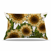 "Art Love Passion ""Sunflower Field"" Beige Yellow Pillow Case"