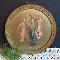 Vintage Brass Framed Angels Print, Wall Hanging, Religious Art
