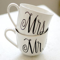 mr. mrs. and custom last name pair of coffee mugs - wedding date and heart - set of two (2) black and white hand painted design