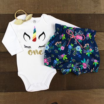 Gold Two Unicorn Face Navy Floral Bloomers Outfit