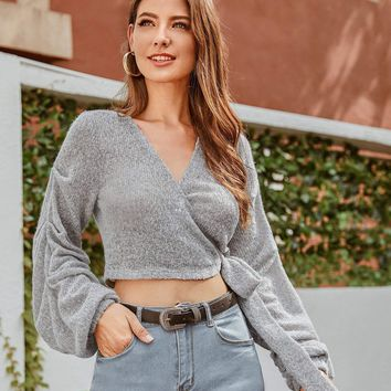 Gathered Sleeve Wrap Belted Sweater