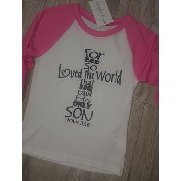 John 3:16 Girl's Pink and White Raglan
